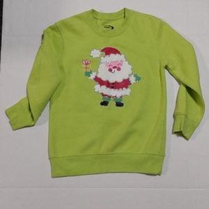 Girls MTA Sport Green Xmas Sweatshirt Sz S (6-7)